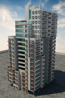 residential high-rise building 3D model