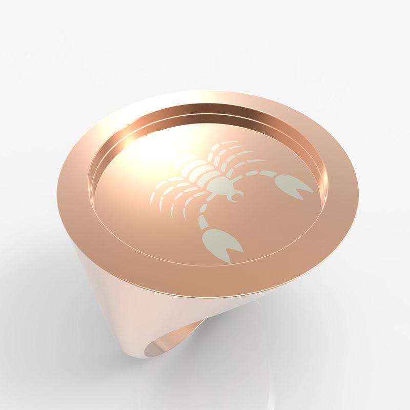 signet ring zodiac scorpio model