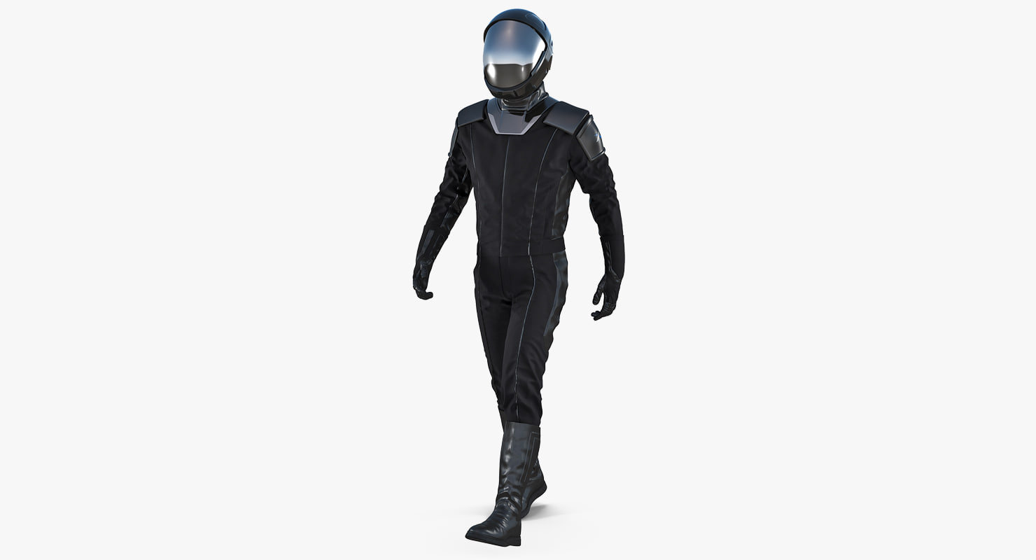 3D model sci-fi space suit black