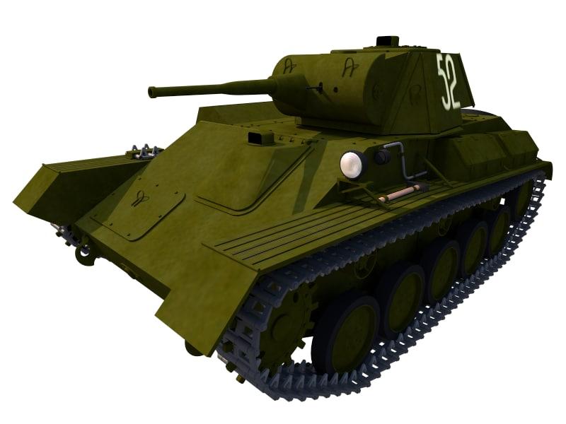 war t70 light tank 3D model