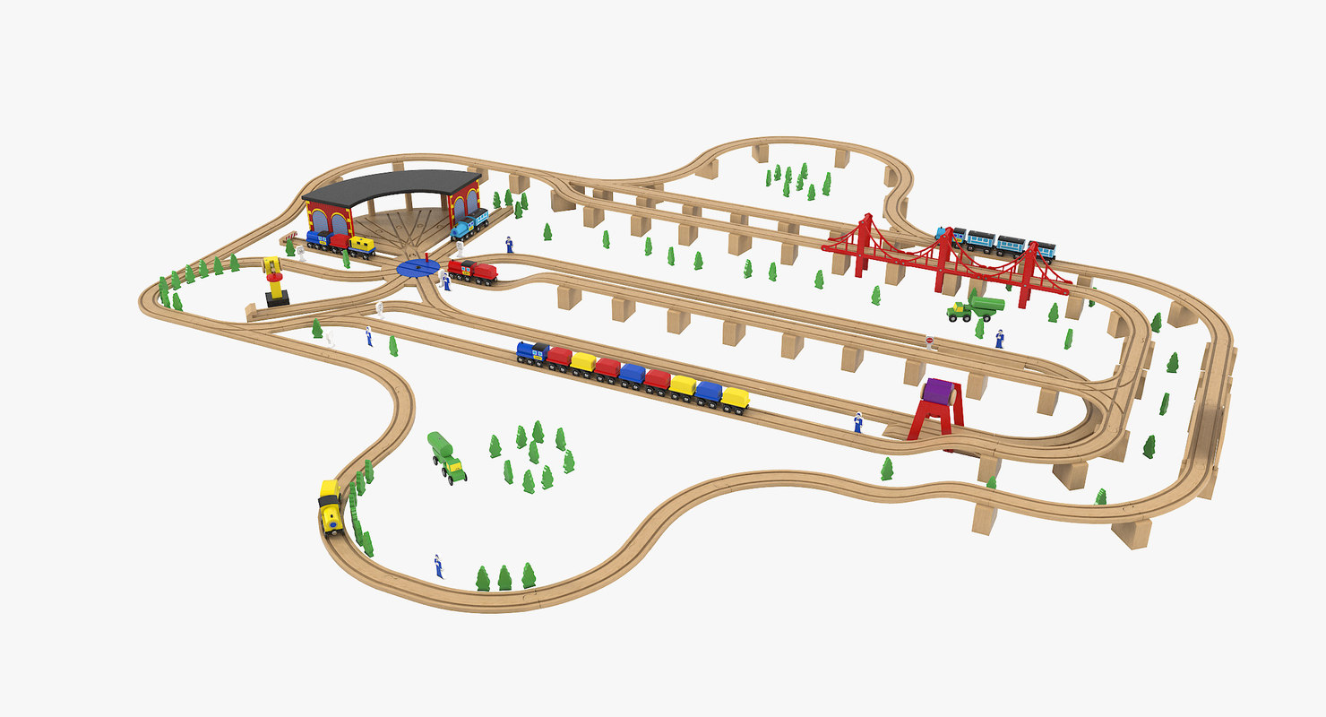 wooden toy railway 3D