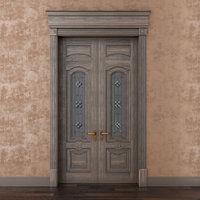 3D classic wood door whith model