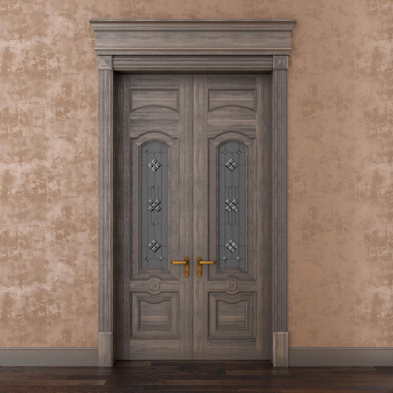 3D classic wood door whith model