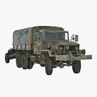 US Military Truck m35a2 with Field Howitzer M119 Rigged 3D Model