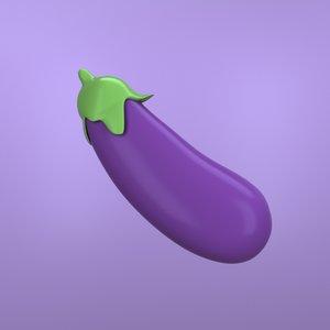 emoji eggplant 3D model
