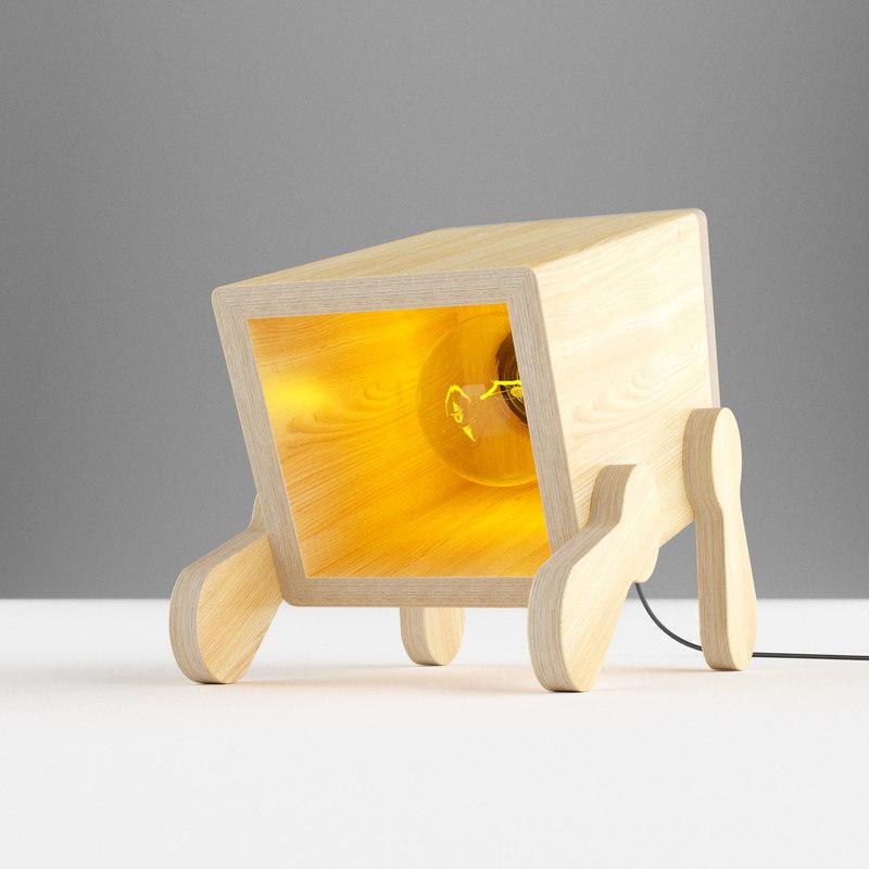 3D modern polywood table light