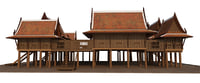 Thai traditional wooden house, Tropical house South east asia