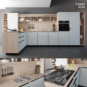 3D model kitchen set cesar ariel