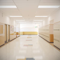 Photorealistic School Hallway Locker Room