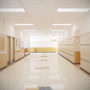 3D model school room realistic