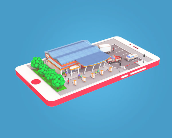 supermarket phone screen 3D model