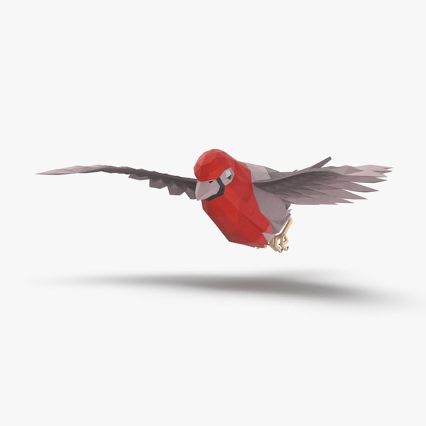 3D model bird----red-bird-flying