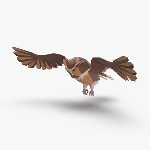 3D owl---flying-a model