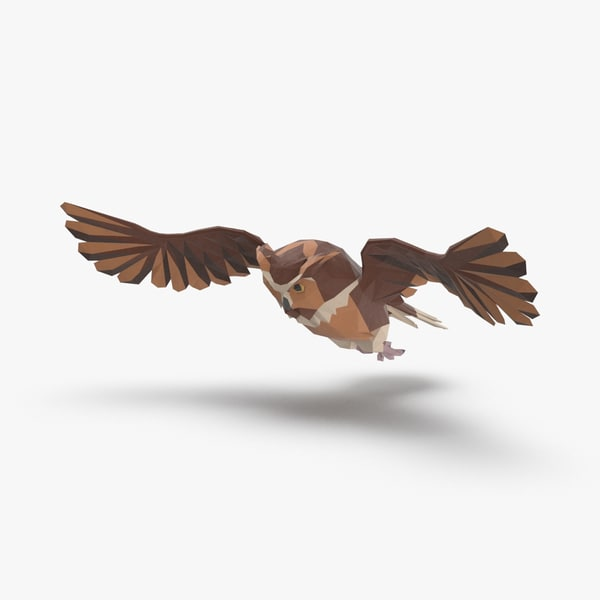 owl---flying-b 3D model