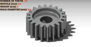 spur gear teeth: 20 3D