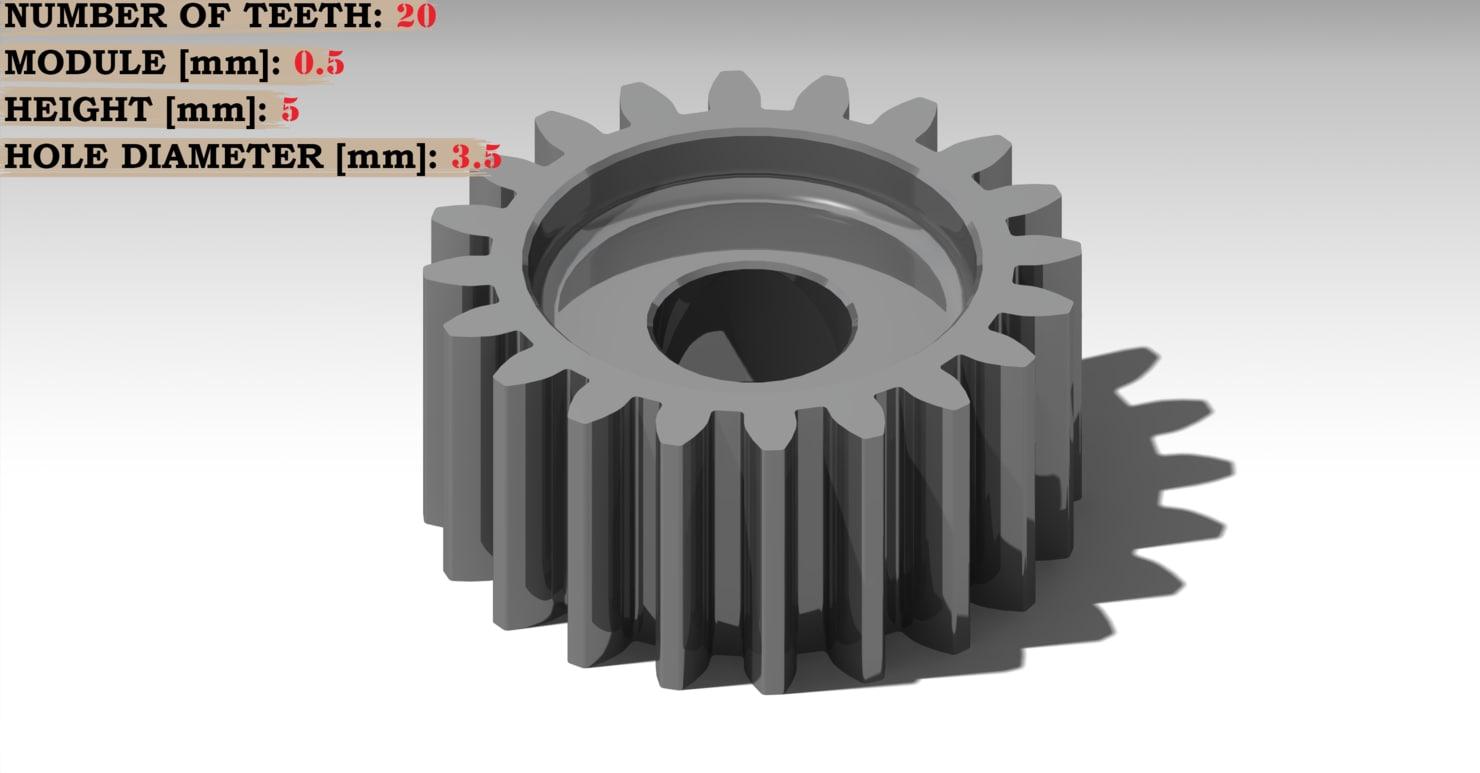 spur gear teeth: 20 3D