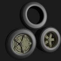 3D set wheels kamaz model