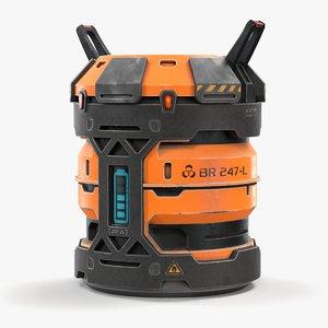 3D science barrel contains model