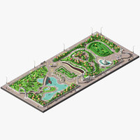 Low poly big park with pond and labyrinth.