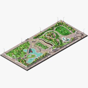 3D park labyrinth model
