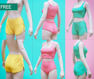 woman s shorts undergarment 3D model