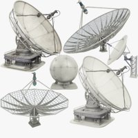 satellite dishes set 3D