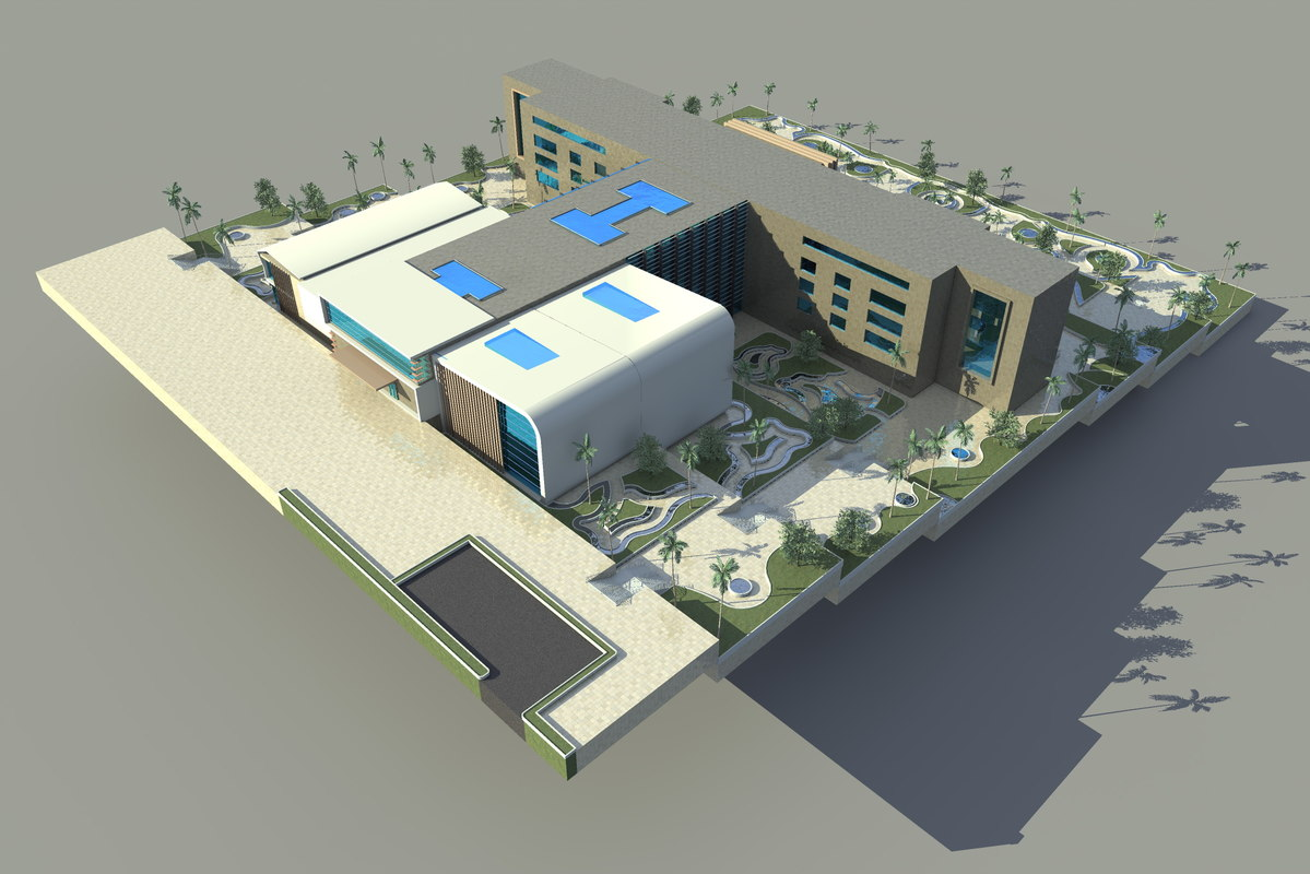 faculty building sloping site model