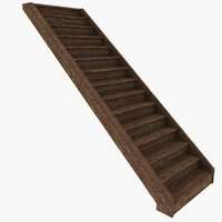 rustic wood stair 3D model