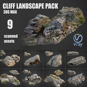 3D cliff landscape pack model