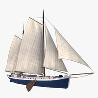 antique dutch klipper 3D model