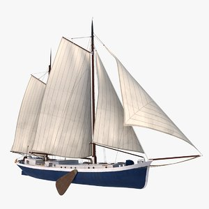 antique dutch klipper 3D model
