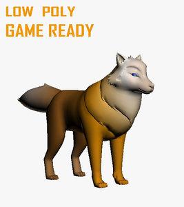 3D cartoon wolf model