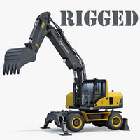 wheeled excavator generic rigged 3D