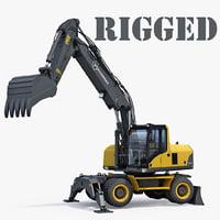 Wheeled Excavator Generic Rigged