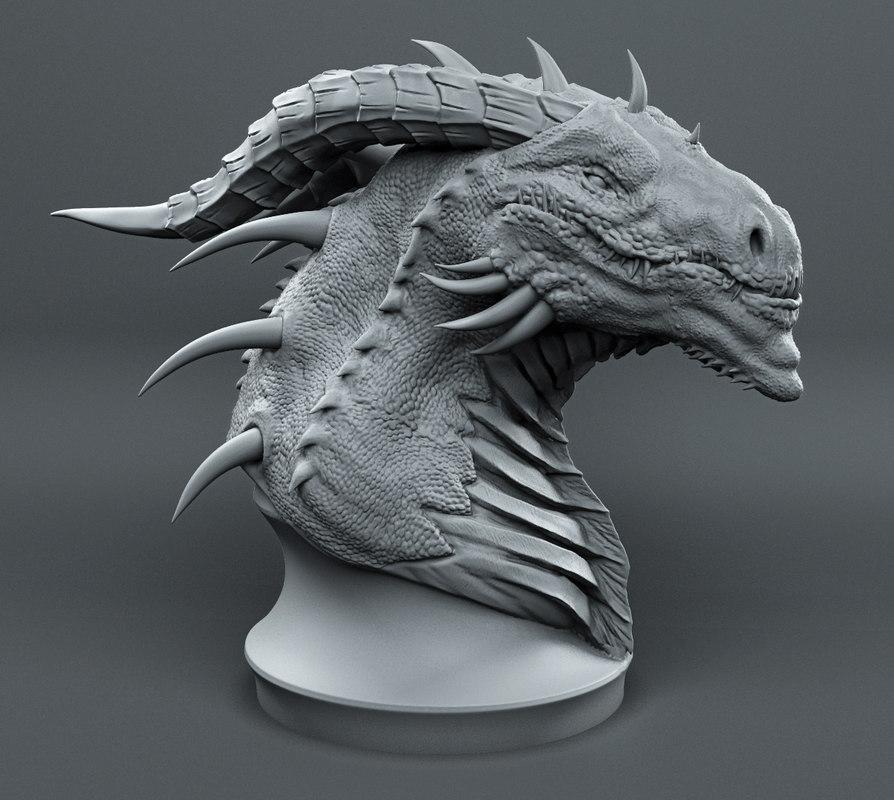 dragons printed head model turbosquid 1247088