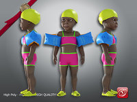 3D child female swimming pool model