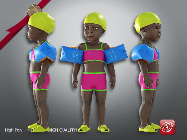 3D child female swimming pool model