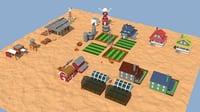 farm sheds animals 3D model