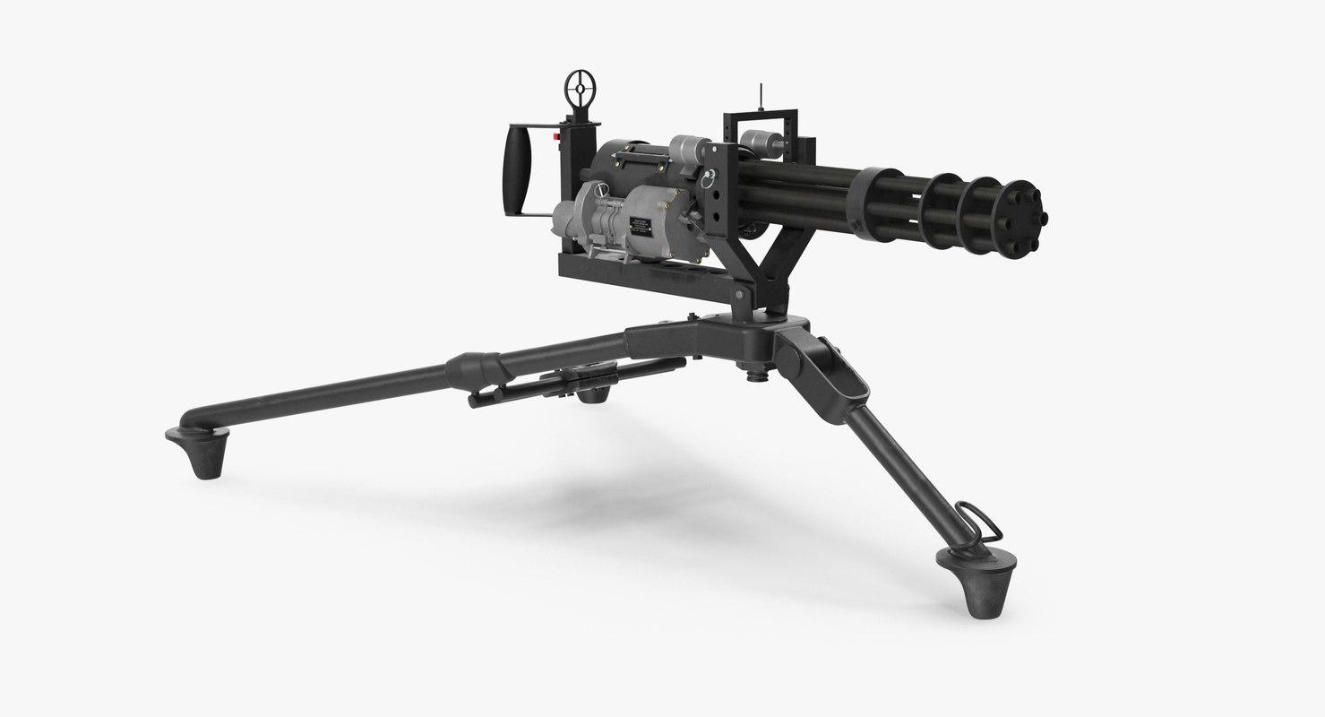m134 minigun tripod mounted 3D model