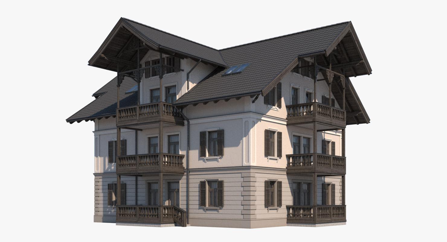 3D villa roof realistic