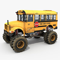 yellow school bus monster truck model