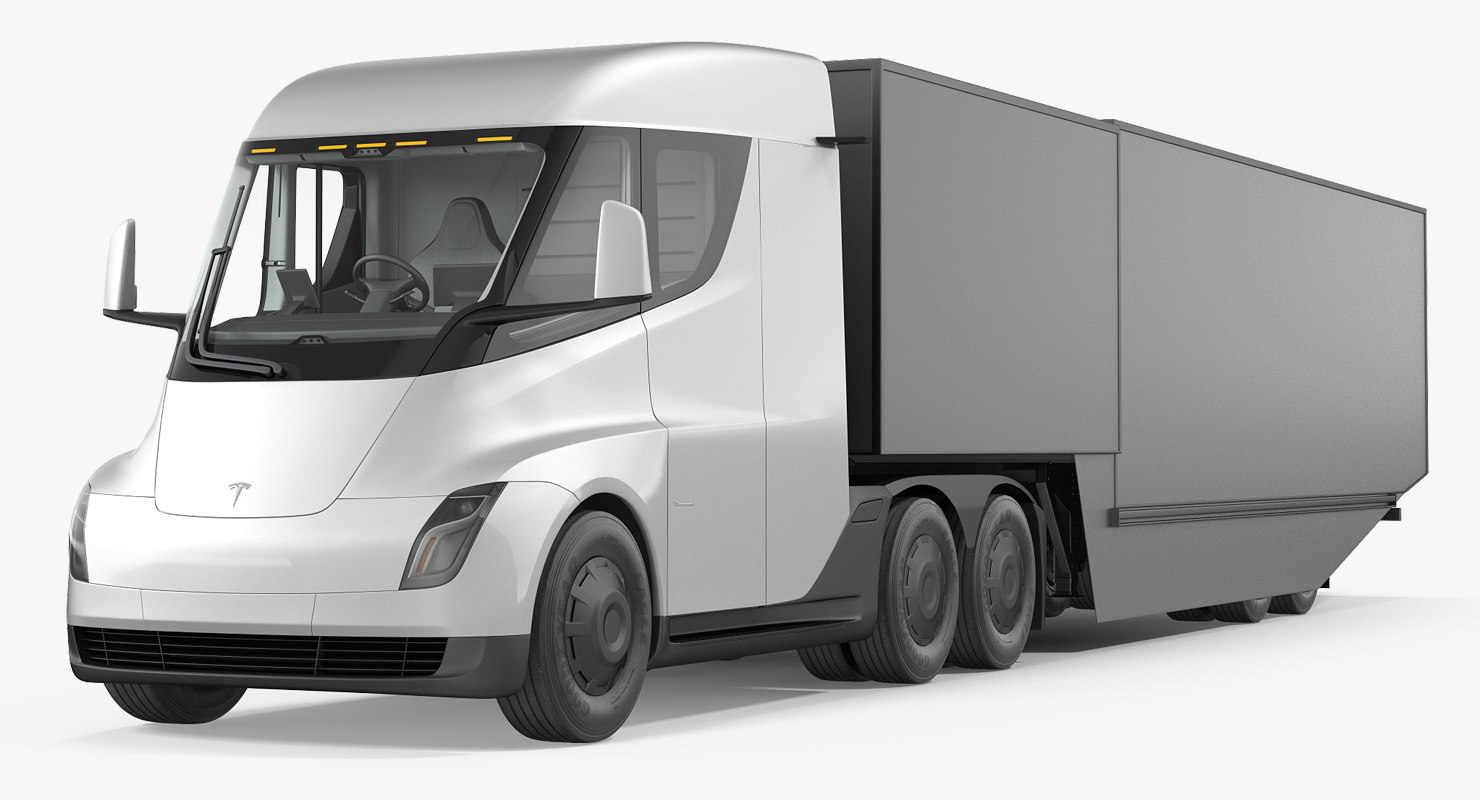 electric semi truck tesla 3D model