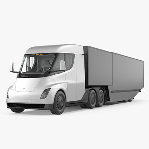 electric semi truck tesla 3D model
