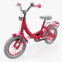 girls kids bike rigged 3D model
