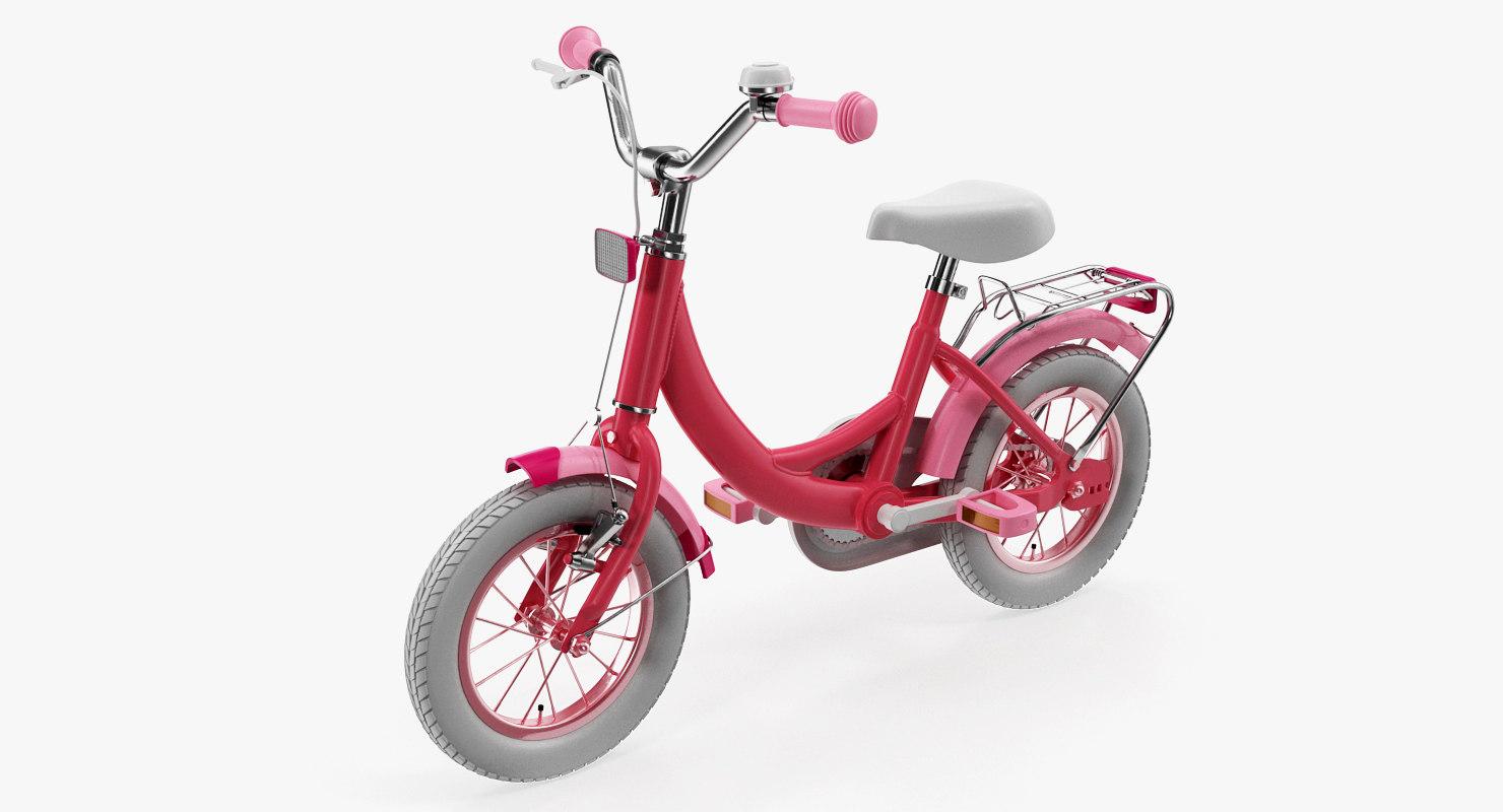 girls kids bike rigged 3D model