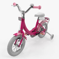 girls kids bike training 3D model