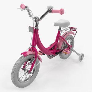 girls kids bike training 3D model