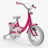 Girls Kids Bike with Training Wheels Rigged