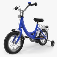 Small Kids Bike with Training Wheels Rigged