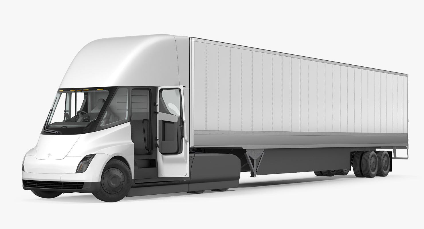 3D tesla semi truck trailer